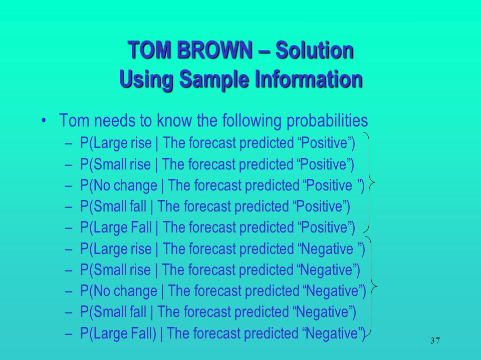 TOM BROWN – Solution Using Sample Information