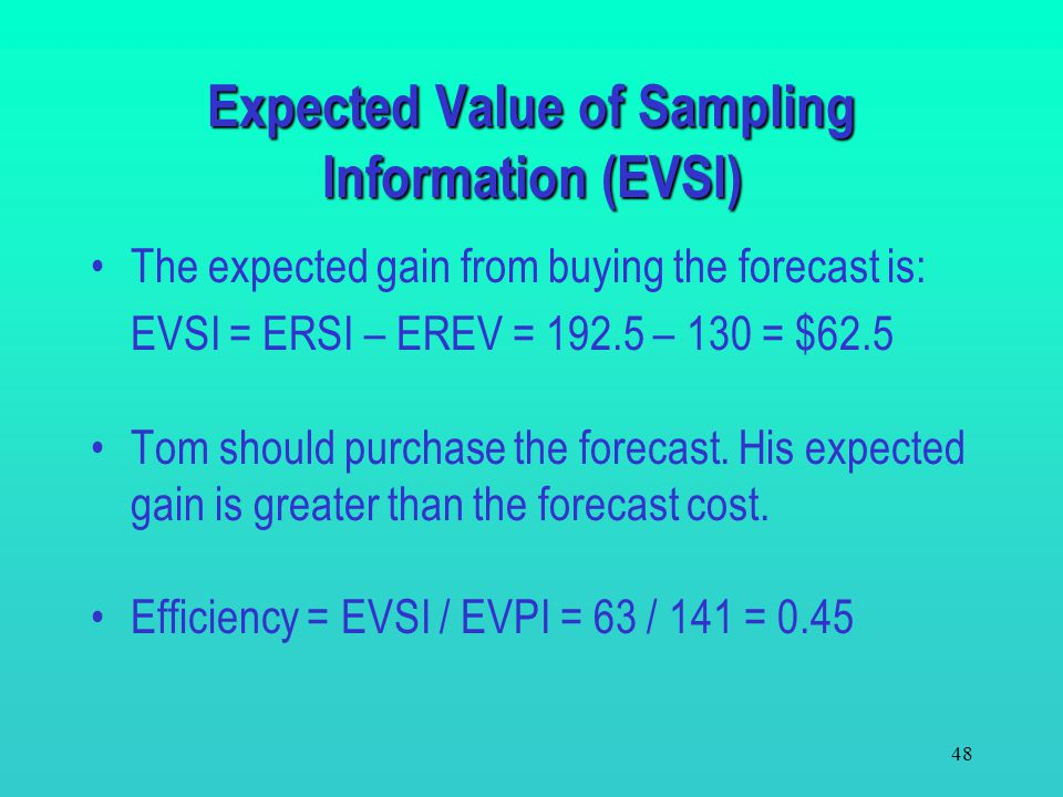 Expected Value of Sampling Information (EVSI)