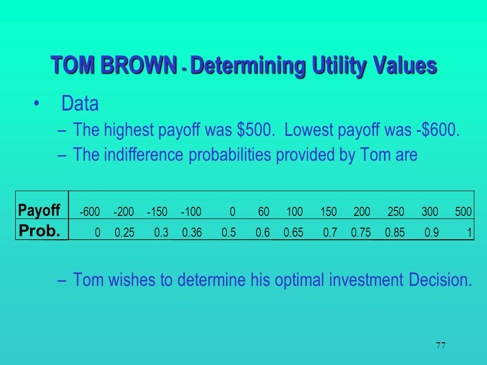 TOM BROWN - Determining Utility Values