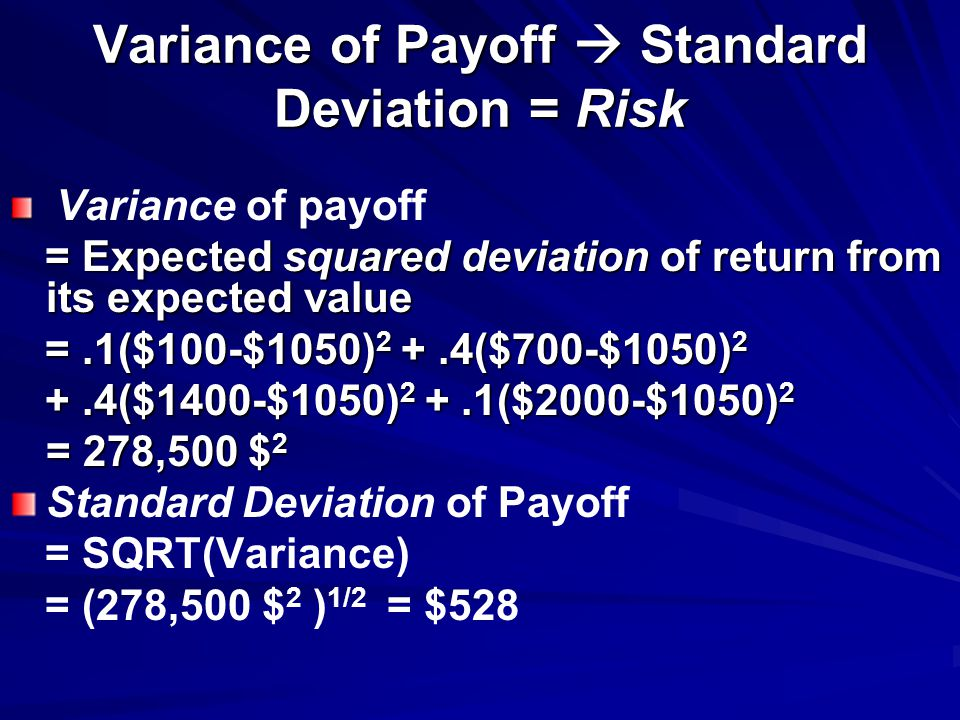 Variance of Payoff  Standard Deviation = Risk