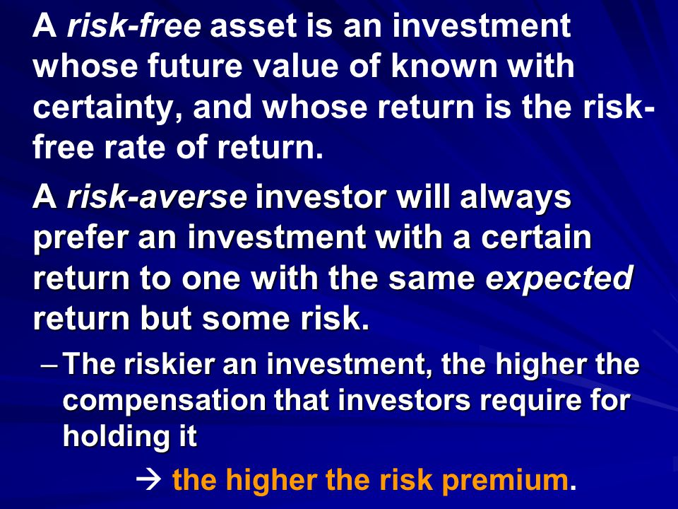  the higher the risk premium.