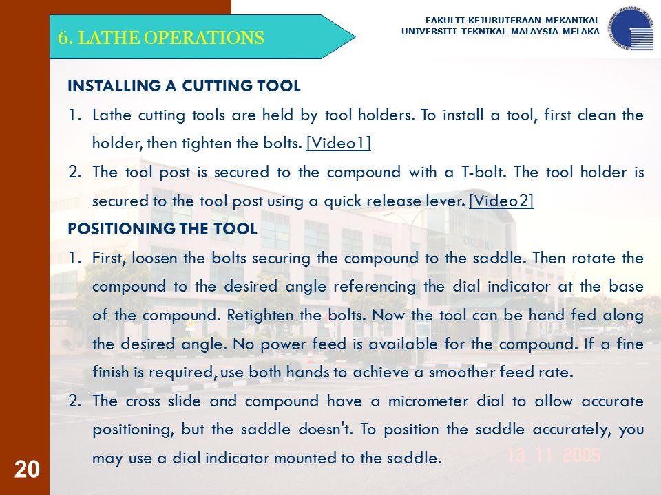 INSTALLING A CUTTING TOOL