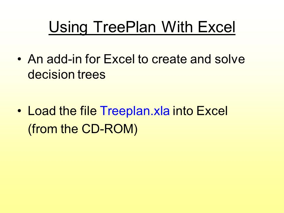 Using TreePlan With Excel