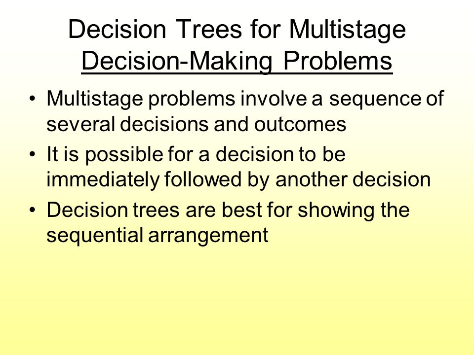 Decision Trees for Multistage Decision-Making Problems