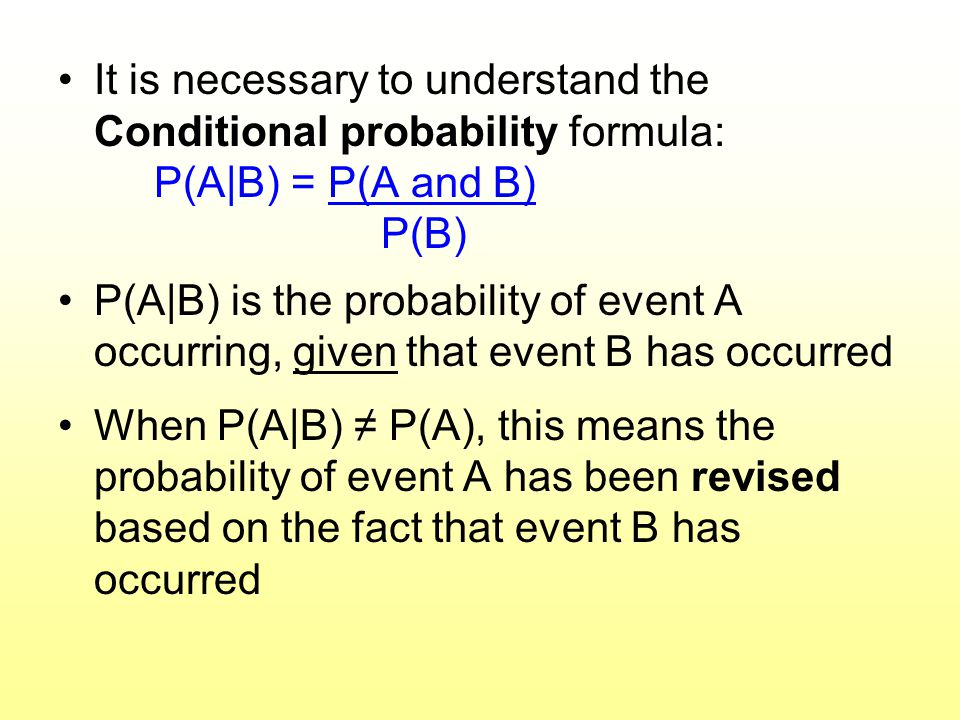 It is necessary to understand the Conditional probability formula: