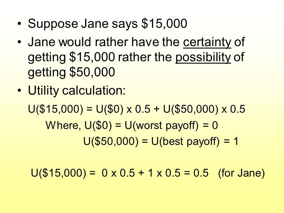 Suppose Jane says $15,000 Jane would rather have the certainty of getting $15,000 rather the possibility of getting $50,000.