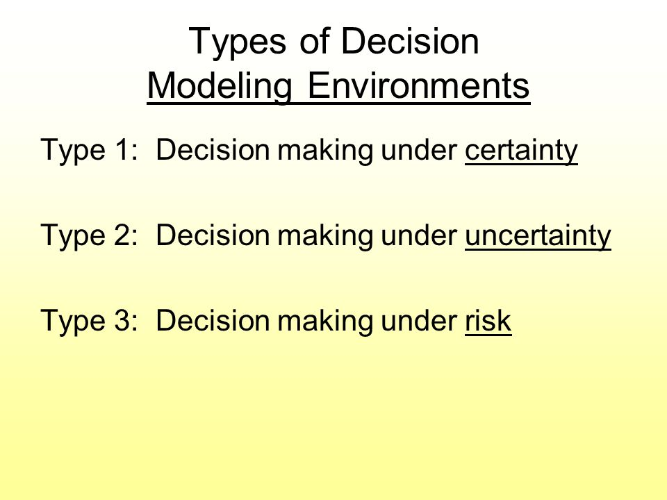 Types of Decision Modeling Environments