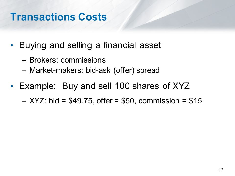 Transactions Costs Buying and selling a financial asset