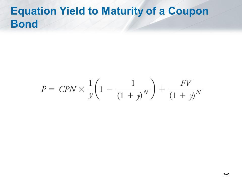 Equation Yield to Maturity of a Coupon Bond