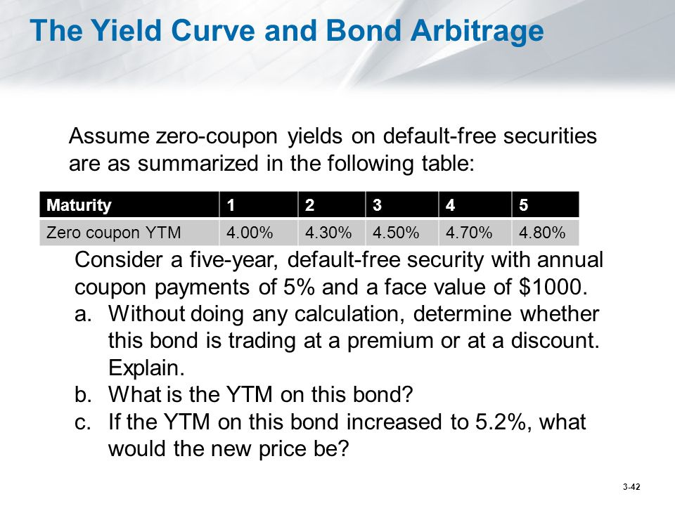 The Yield Curve and Bond Arbitrage