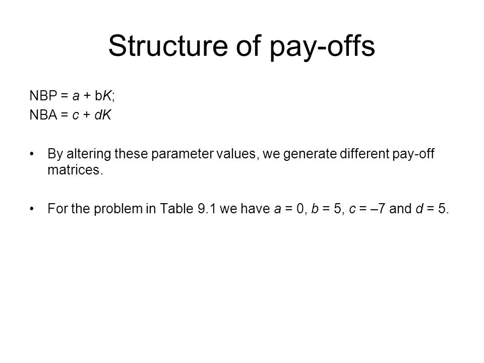 Structure of pay-offs NBP = a + bK; NBA = c + dK