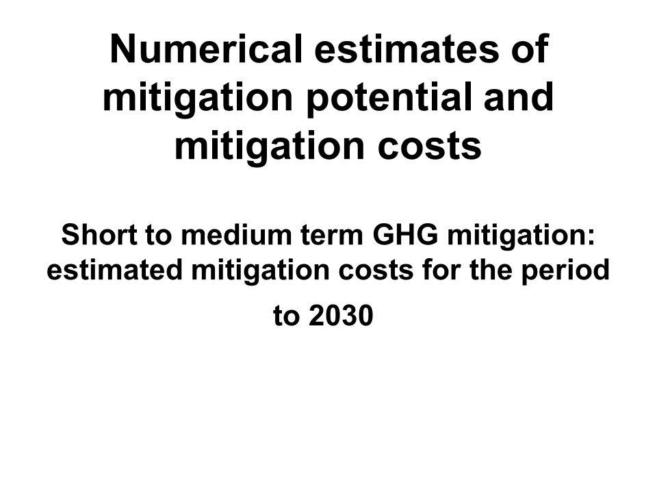 Numerical estimates of mitigation potential and mitigation costs Short to medium term GHG mitigation: estimated mitigation costs for the period to 2030