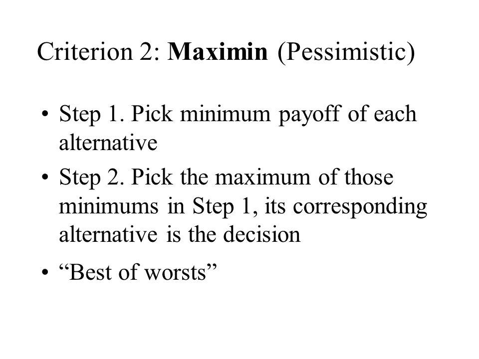 Criterion 2: Maximin (Pessimistic)