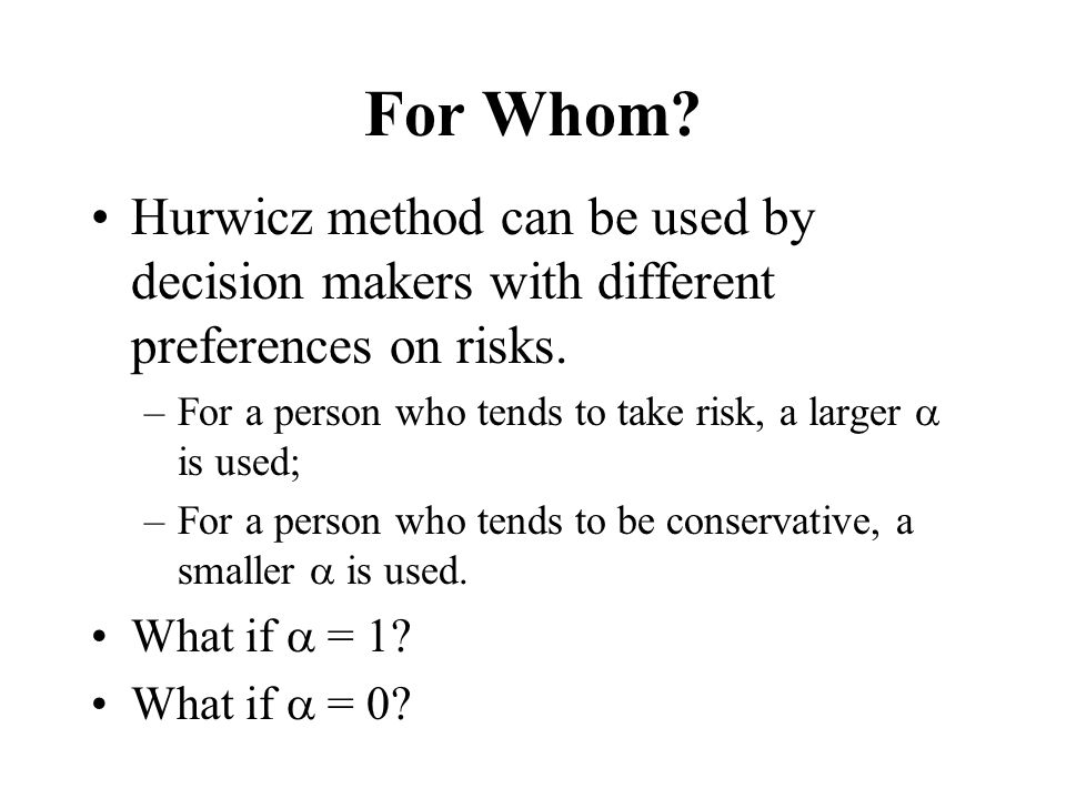 For Whom Hurwicz method can be used by decision makers with different preferences on risks.