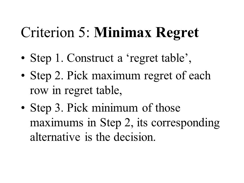 Criterion 5: Minimax Regret