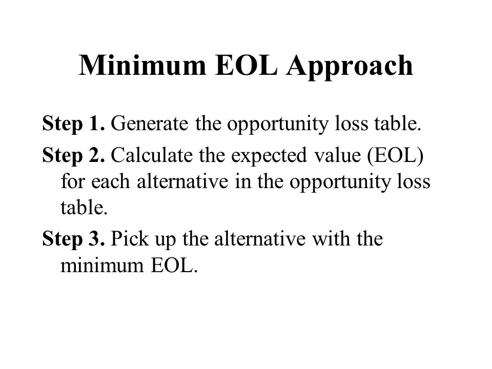 Minimum EOL Approach Step 1. Generate the opportunity loss table.