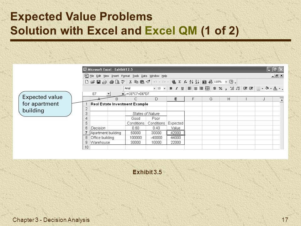 Expected Value Problems Solution with Excel and Excel QM (1 of 2)