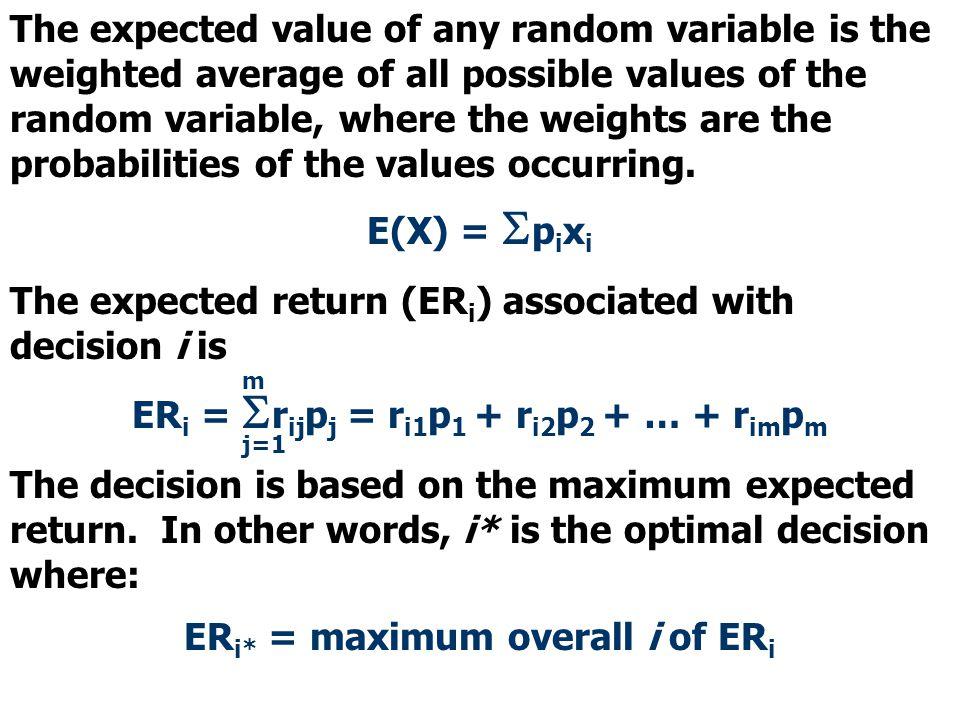 ERi = Srijpj = ri1p1 + ri2p2 + … + rimpm