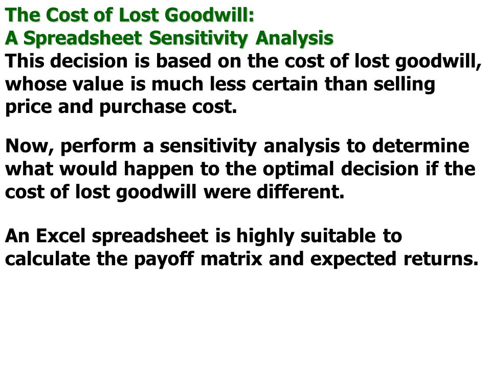 The Cost of Lost Goodwill: A Spreadsheet Sensitivity Analysis