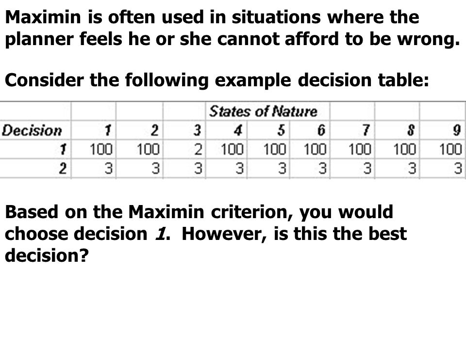 Maximin is often used in situations where the planner feels he or she cannot afford to be wrong.