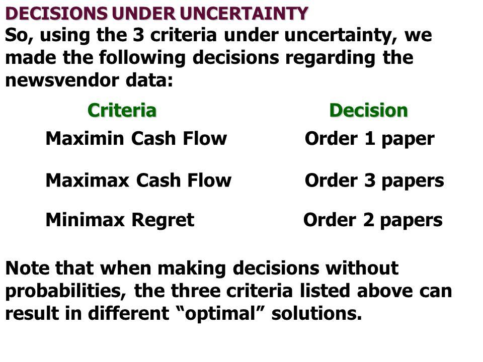 Maximin Cash Flow Order 1 paper