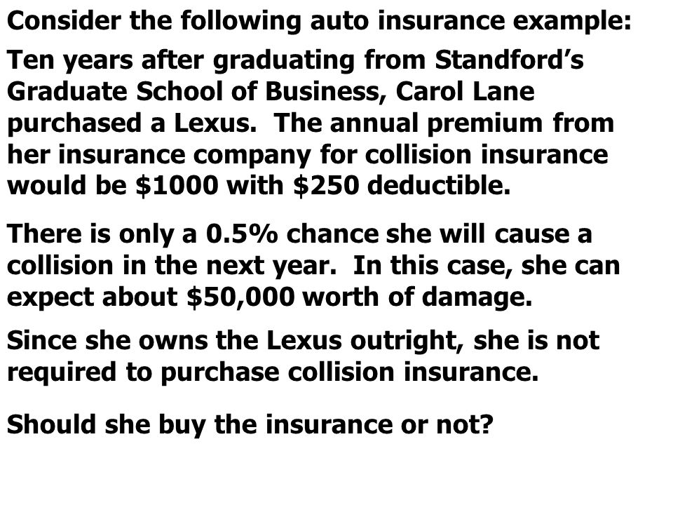 Consider the following auto insurance example: