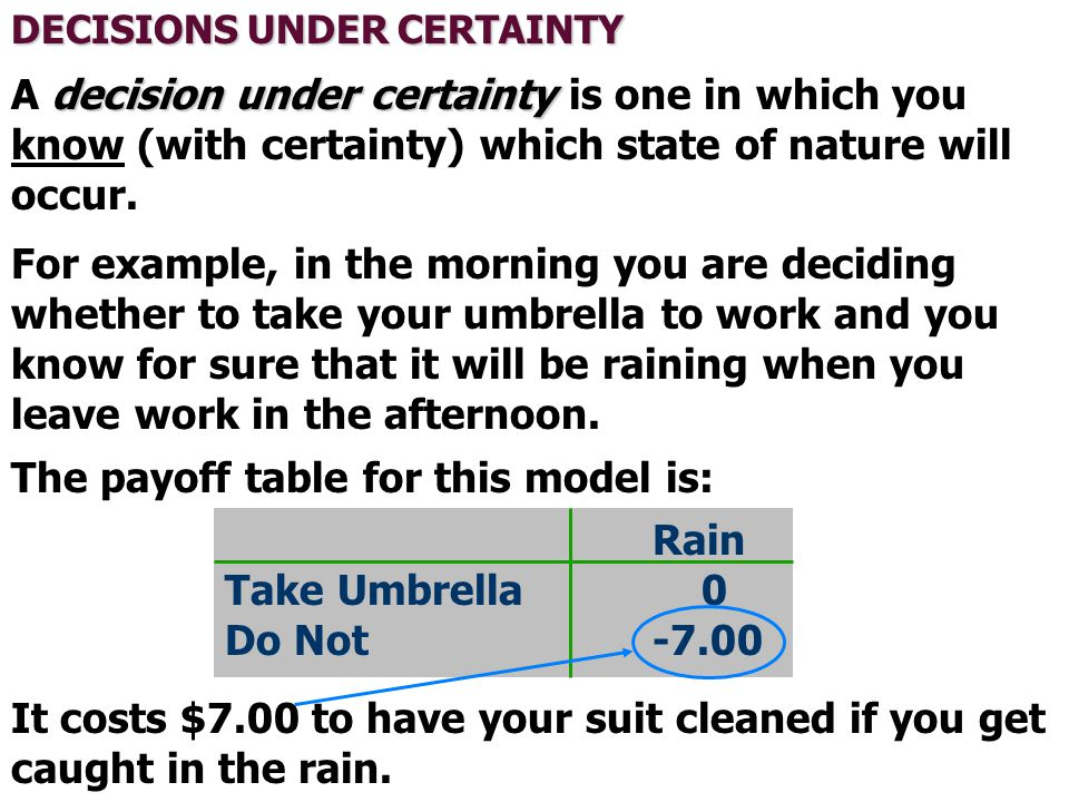 The payoff table for this model is: