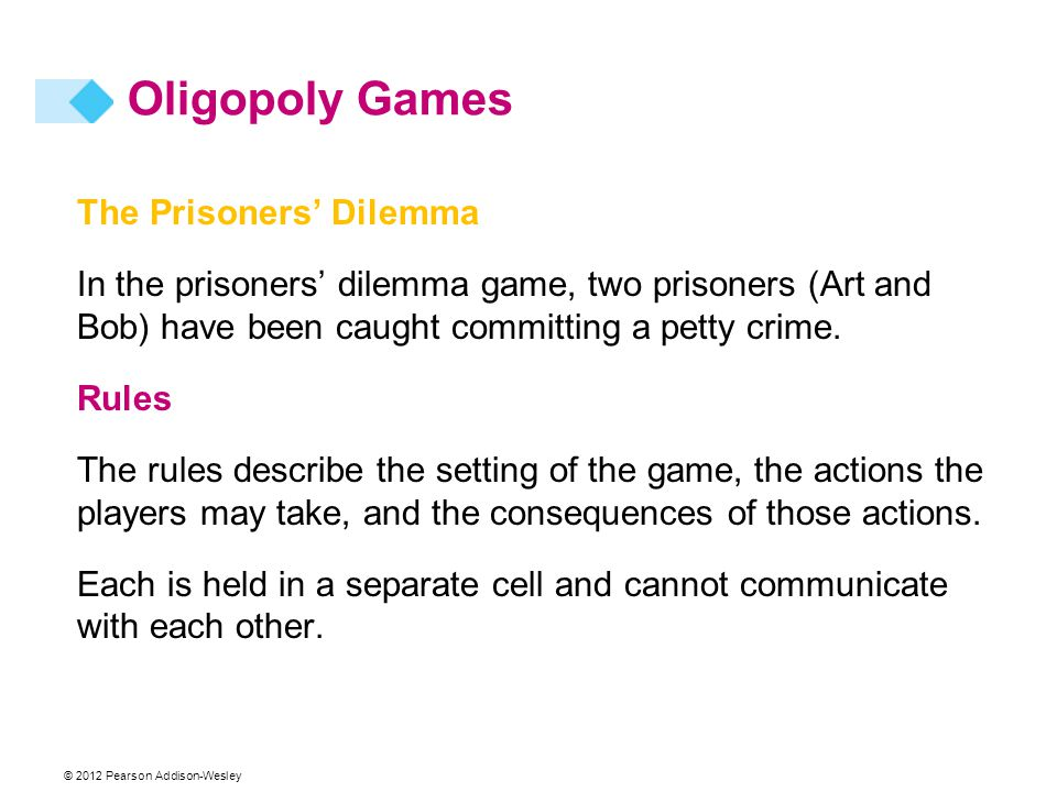 Oligopoly Games The Prisoners' Dilemma