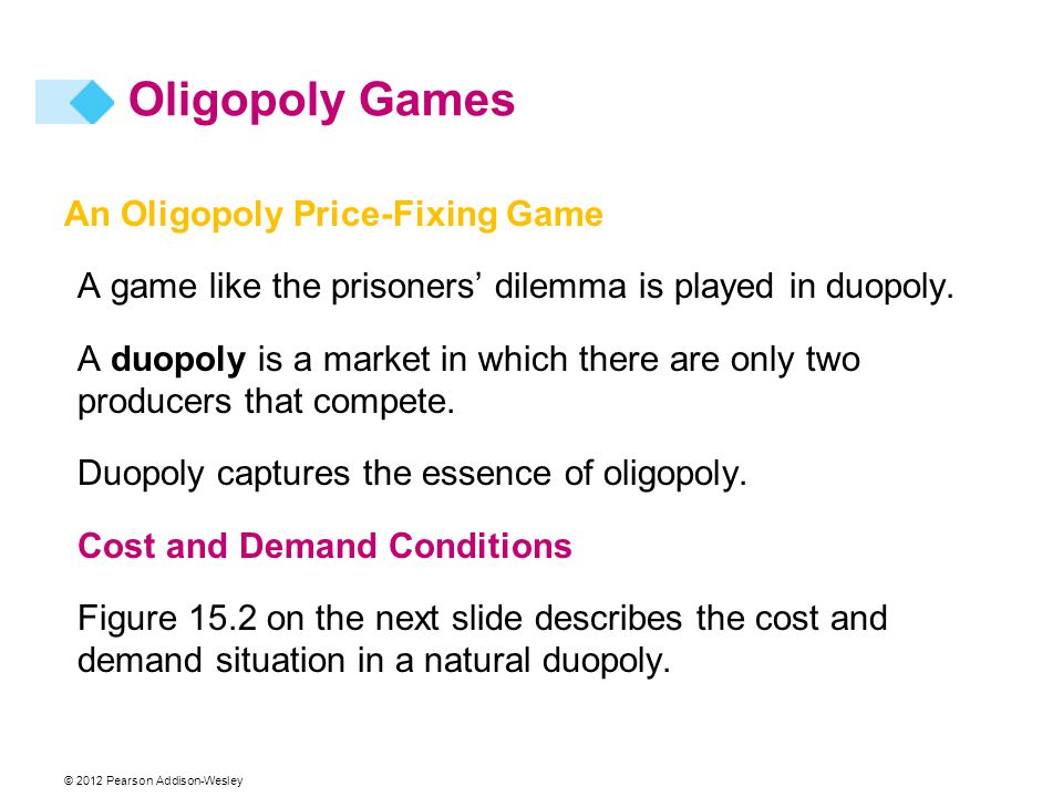 Oligopoly Games An Oligopoly Price-Fixing Game