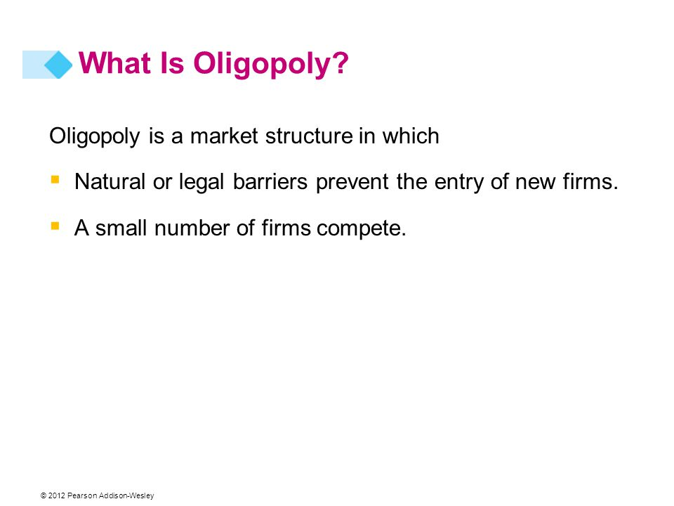 What Is Oligopoly Oligopoly is a market structure in which