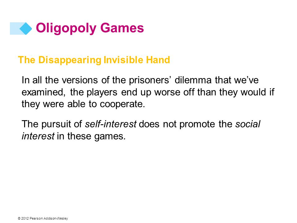 Oligopoly Games The Disappearing Invisible Hand
