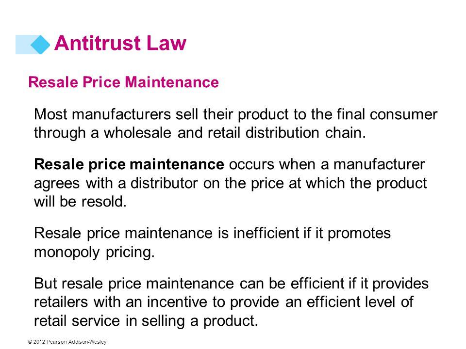 Antitrust Law Resale Price Maintenance