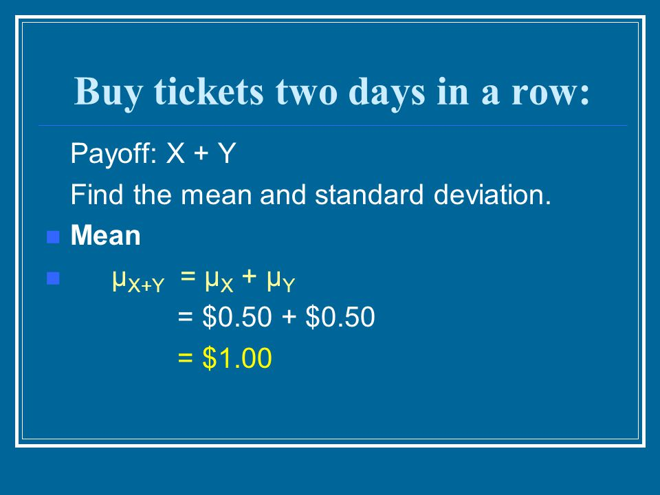 Buy tickets two days in a row: