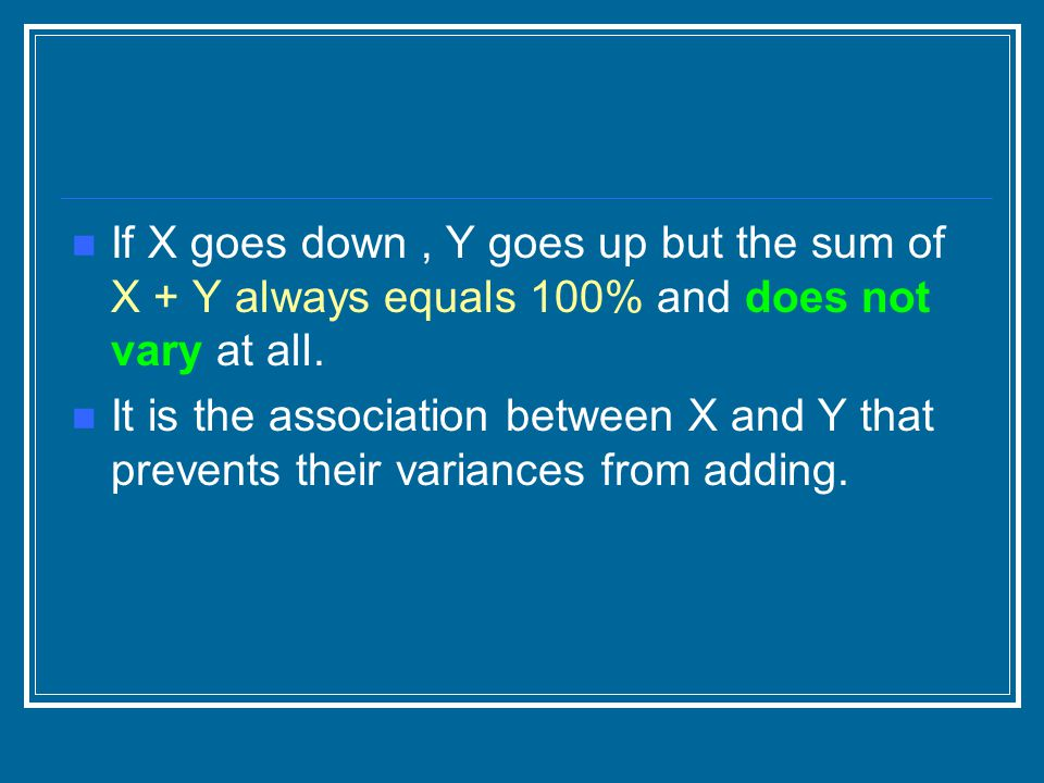 If X goes down , Y goes up but the sum of X + Y always equals 100% and does not vary at all.