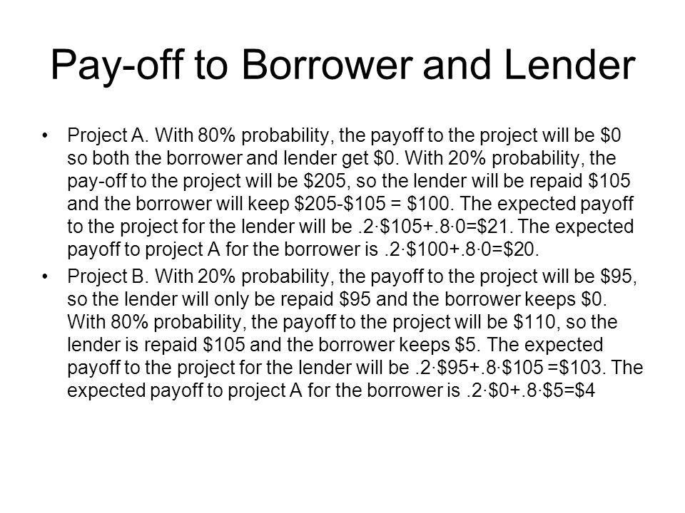 Pay-off to Borrower and Lender