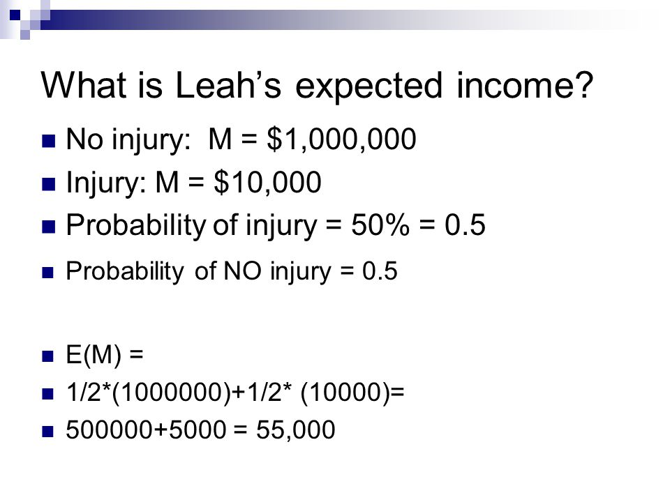 What is Leah's expected income