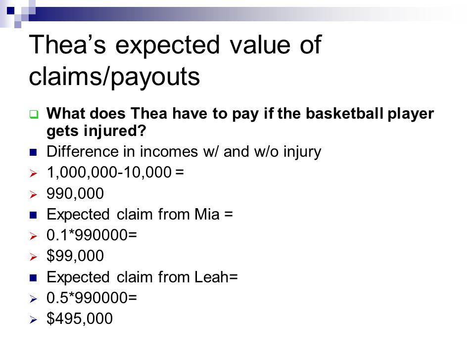 Thea's expected value of claims/payouts
