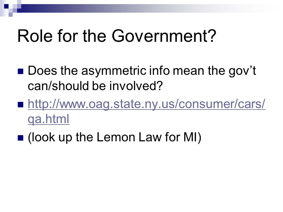 Role for the Government