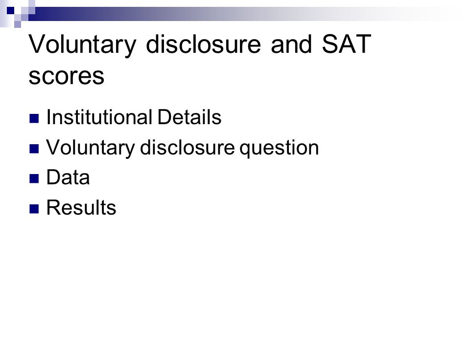 Voluntary disclosure and SAT scores