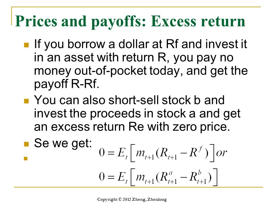 Prices and payoffs: Excess return