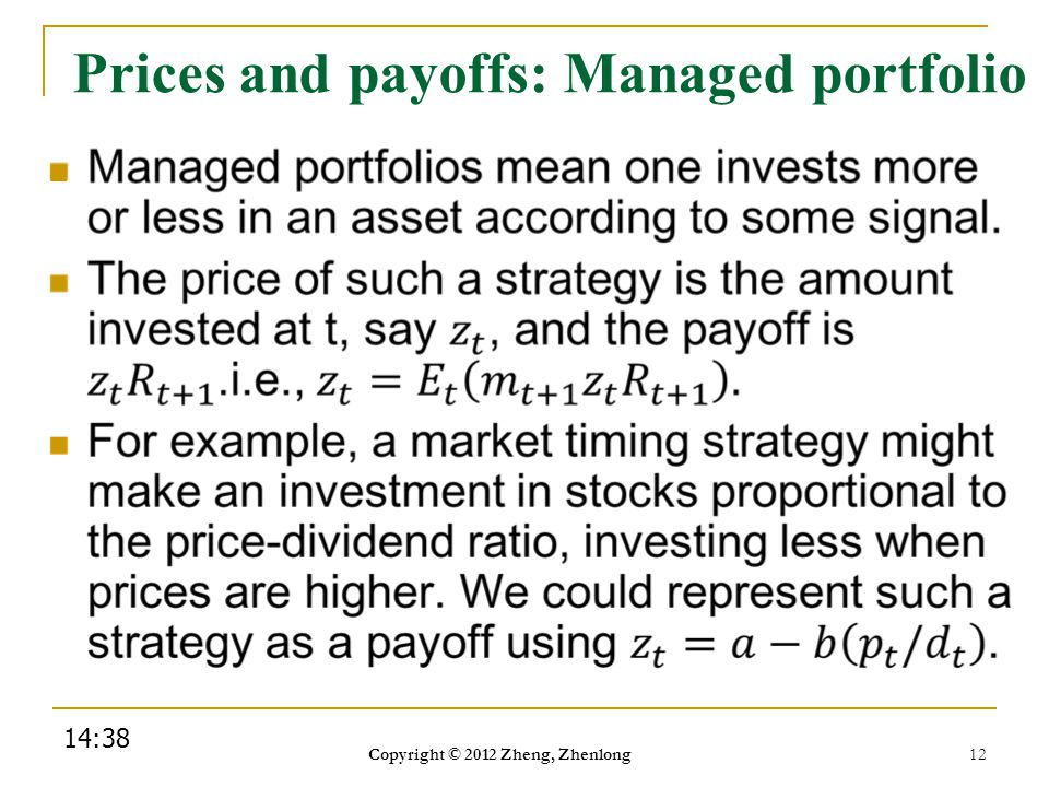 Prices and payoffs: Managed portfolio