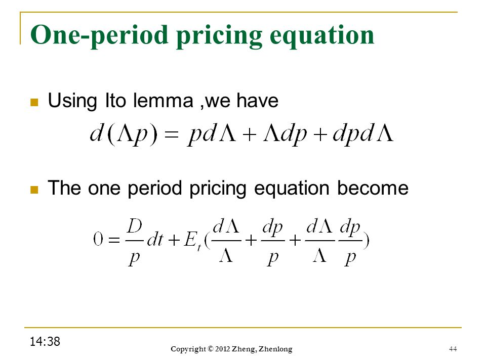 One-period pricing equation