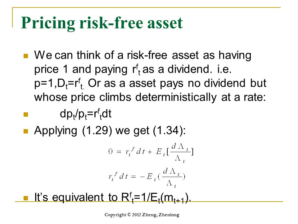 Pricing risk-free asset