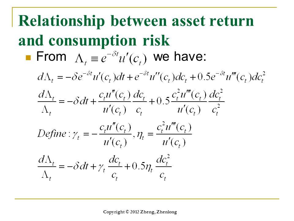 Relationship between asset return and consumption risk