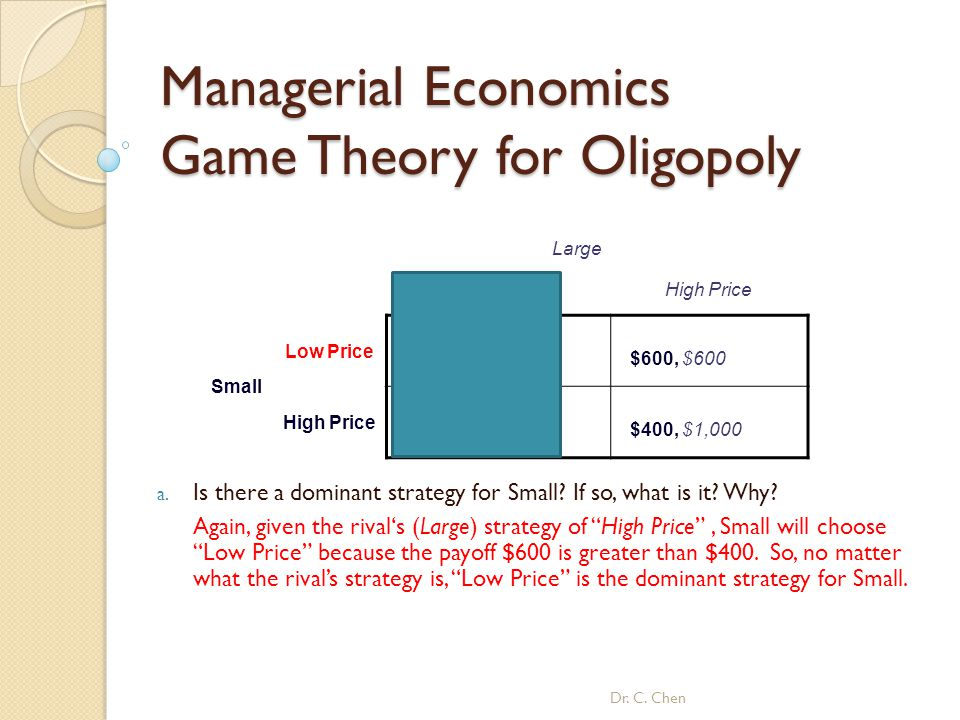 Managerial Economics Game Theory for Oligopoly