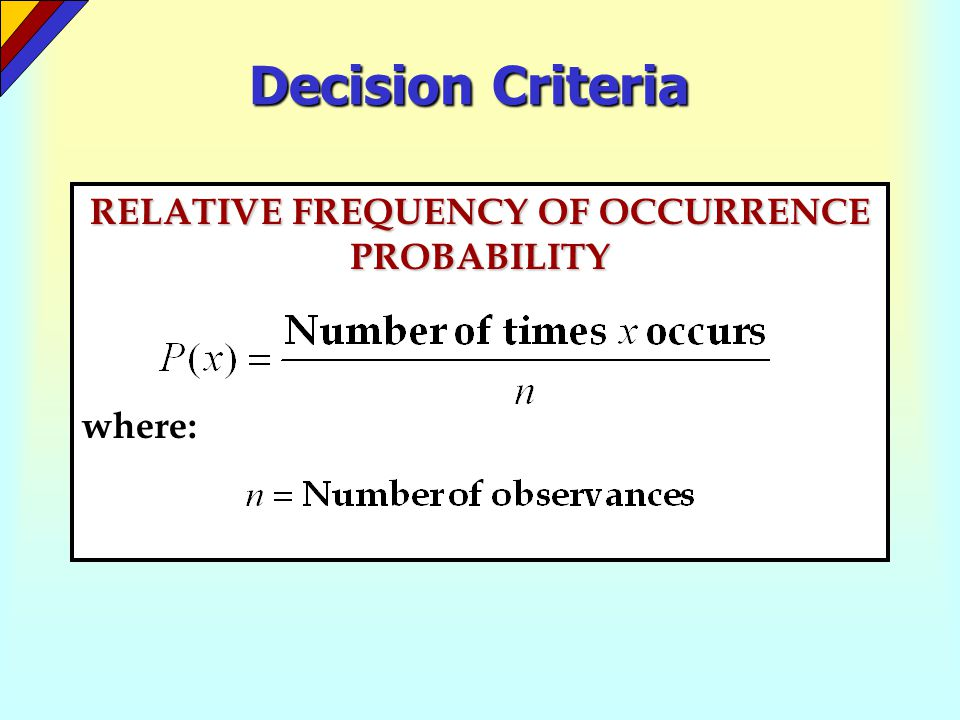 RELATIVE FREQUENCY OF OCCURRENCE PROBABILITY where: