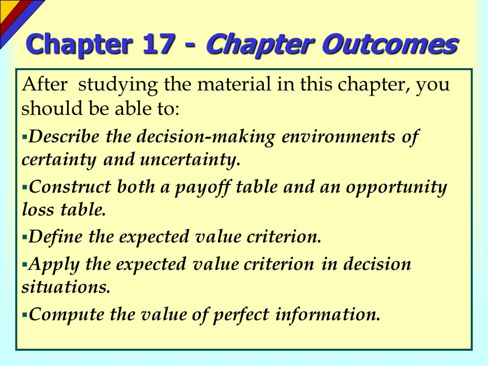 Chapter 17 - Chapter Outcomes