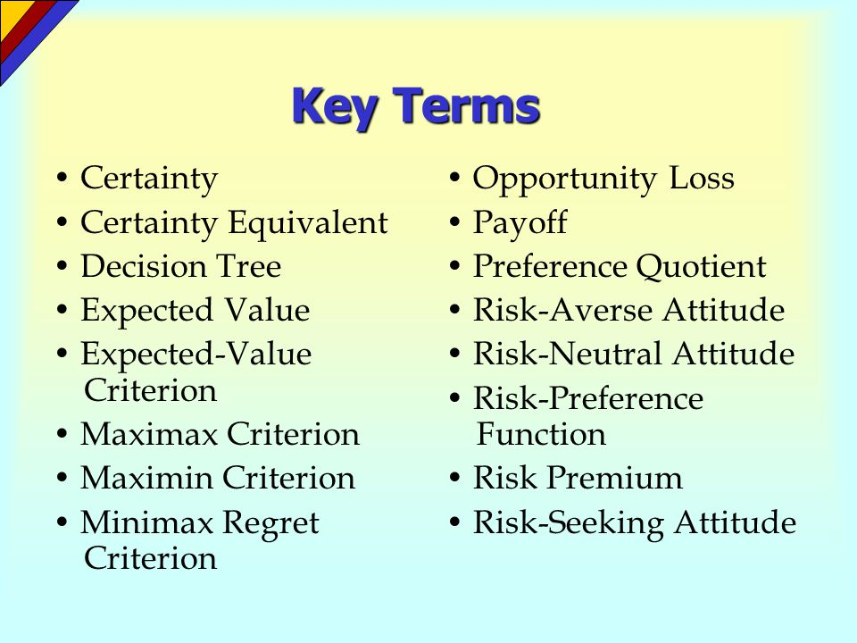 Key Terms • Certainty • Certainty Equivalent • Decision Tree