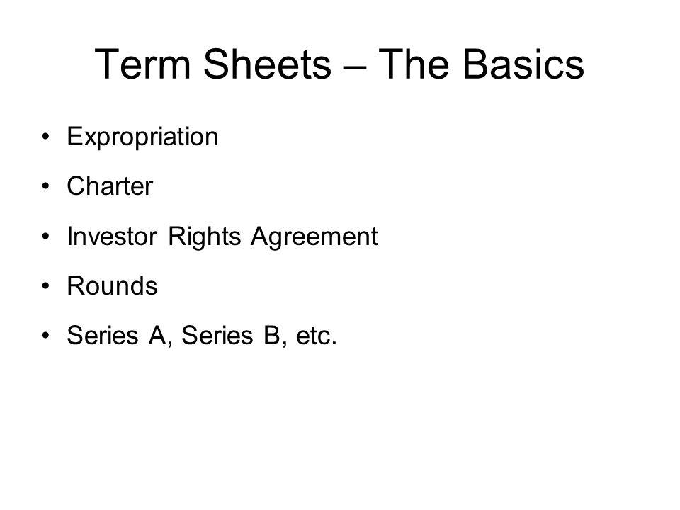 Term Sheets – The Basics