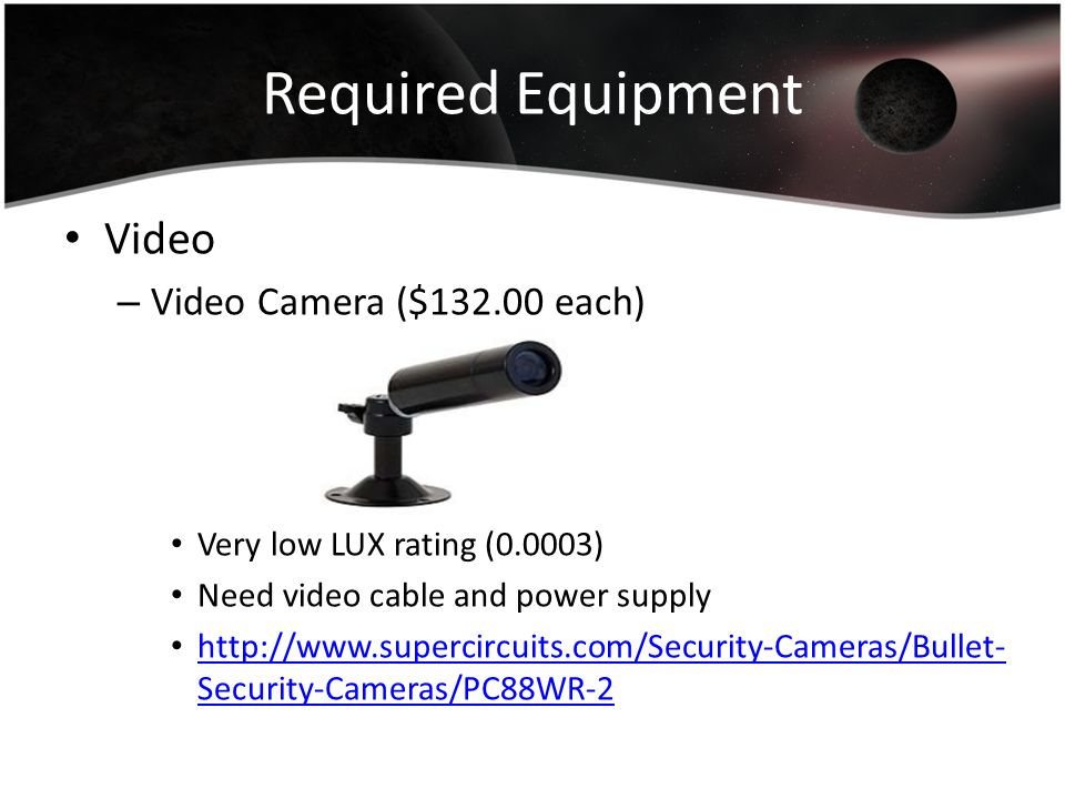 Required Equipment Video Video Camera ($132.00 each)